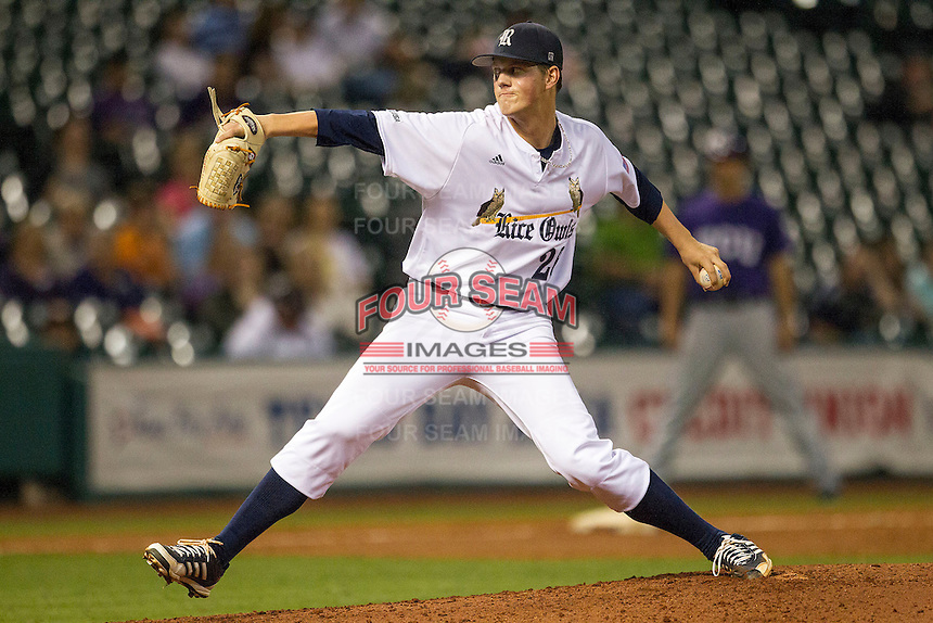 Rice Owls pitcher Blake Fox #26 delivers a pitch to the plate during the NCAA baseball game against the TCU Horned Frogs on March 1, 2014 during the Houston College Classic at Minute Maid Park in Houston, Texas. Rice defeated TCU 1-0. (Andrew Woolley/Four Seam Images)