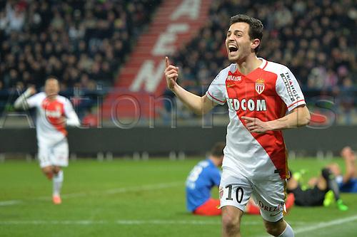 04.03.2016. Caen, France. French League 1 football. Caen versus Monaco.  BERNARDO SILVA (mon) celebrates his goal