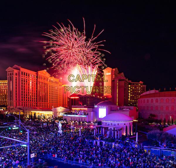 LAS VEGAS, NV - December 31, 2015: ***HOUSE COVERAGE*** New Years Eve Fireworks over Caesars Palace Las Vegas on the Las vegas Strip in Las vegas, NV on December 31, 2015. <br /> CAP/MPI/EKP<br /> &copy;EKP/MPI/Capital Pictures