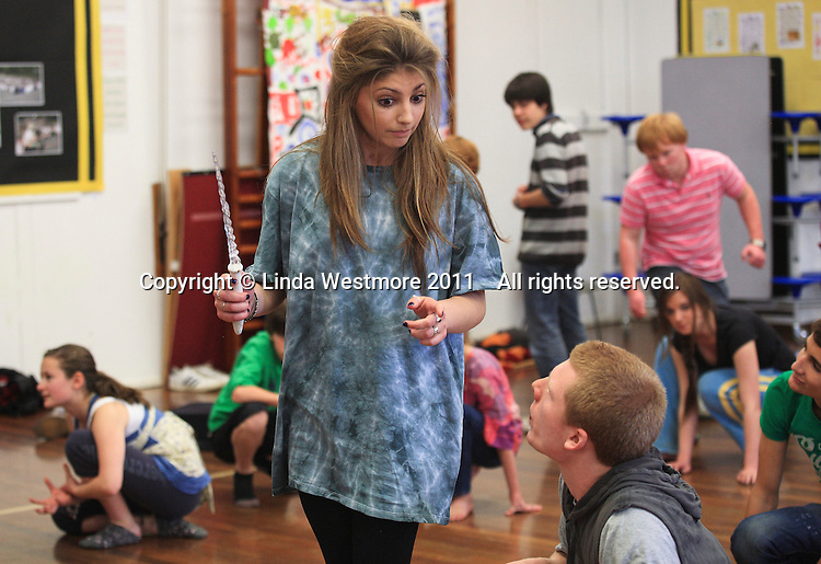 """The """"Wicked Queen"""".  The Yvonne Arnaud Youth Theatre rehearsing """"The Lion, the Witch and the Wardrobe"""", Guildford, Surrey."""