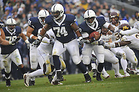 17 October 2009:    Penn State QB Daryll Clark (17) runs the ball behind G Johnnie Troutman (74).   The Penn State Nittany Lions defeated the Minnesota Golden Gophers 20-0 at Beaver Stadium in State College, PA..