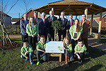 First Minister Carwyn Jones visiting Stebonheath Primary School in Llanelli alongside Bob Ayling &ndash; Chairman Welsh Water, Jonathan Taylor &ndash; Vice President European Investment Bank,  Headmaster Julian Littler, Keith Davies AM &amp; councillor Colin Evans with pupils who have planted a tree to mark the completion of the Rainscape projected installed by Welsh Water at the school.<br /> <br /> 08.01.15<br /> &copy;Steve Pope -FOTOWALES
