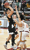 #32 Ryan Kaneshiro<br /> The Occidental College men's basketball team plays against Claremont-Mudd-Scripps in the SCIAC Semi Final game on Friday, January 22, 2019 in Claremont.<br /> Oxy won, 64-62 in overtime and will go on to the final championship against Pomona-Pitzer on Saturday.<br /> (Photo by John Valenzuela, Freelance Photographer)