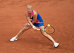 May 24,2016:   Kiki Bertens (NED) splits the first two sets with Angelique Kerber (GER) 6-2, 3-6, at the Roland Garros being played at Stade Roland Garros in Paris, .  ©Leslie Billman/Tennisclix{
