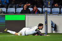 Matt Banahan of Bath Rugby scores a try in the first half. European Rugby Champions Cup match, between Wasps and Bath Rugby on December 13, 2015 at the Ricoh Arena in Coventry, England. Photo by: Patrick Khachfe / Onside Images