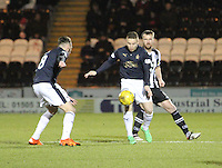 John Baird shielding the ball from Andy Webster in the St Mirren v Falkirk Scottish Professional Football League Ladbrokes Championship match played at the Paisley 2021 Stadium, Paisley on 1.3.16.