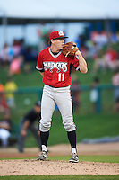 Carolina Mudcats relief pitcher Sean McLaughlin (11) during a game against the Frederick Keys on June 4, 2016 at Nymeo Field at Harry Grove Stadium in Frederick, Maryland.  Frederick defeated Carolina 5-4 in eleven innings.  (Mike Janes/Four Seam Images)