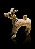 Bronze Age Anatolian terra cotta antilope shaped ritual vessel- 19th to 17th century BC - Kültepe Kanesh - Museum of Anatolian Civilisations, Ankara, Turkey.  Against a black background.