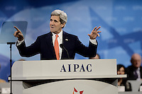 Washington, DC - March 3, 2014:  U.S. Secretary of State John Kerry addresses attendees of the AIPAC Policy Conference March 3, 2014.   (Photo by Don Baxter/Media Images International)