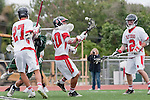 Palos Verdes, CA 04/20/10 - Jake Macer (Palos Verdes #10), Zach Henkhaus (Palos Verdes #12) and Cole Bender (Palos Verdes #27) in action during the Mira Costa-Palos Verdes boys lacrosse game.
