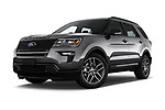 Stock pictures of low aggressive front three quarter view of a 2018 Ford Explorer Sport 5 Door SUV