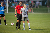 Kansas City, MO - Saturday July 22, 2017: Kevin Broadley , Mccall Zerboni during a regular season National Women's Soccer League (NWSL) match between FC Kansas City and the North Carolina Courage at Children's Mercy Victory Field.