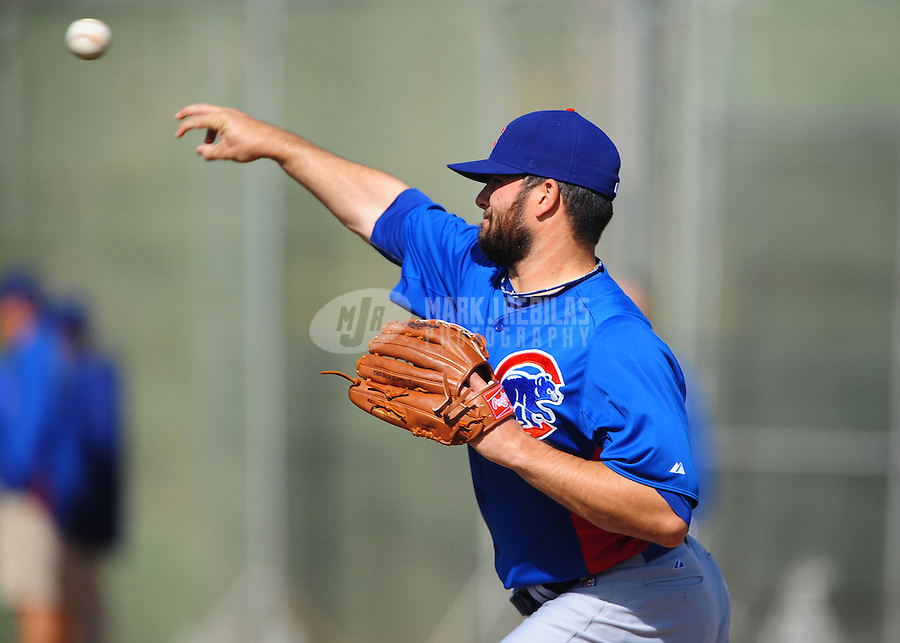Feb. 29, 2012; Mesa, AZ, USA; Chicago Cubs pitcher Trey McNutt during spring training workouts at Fitch Park.  Mandatory Credit: Mark J. Rebilas-.