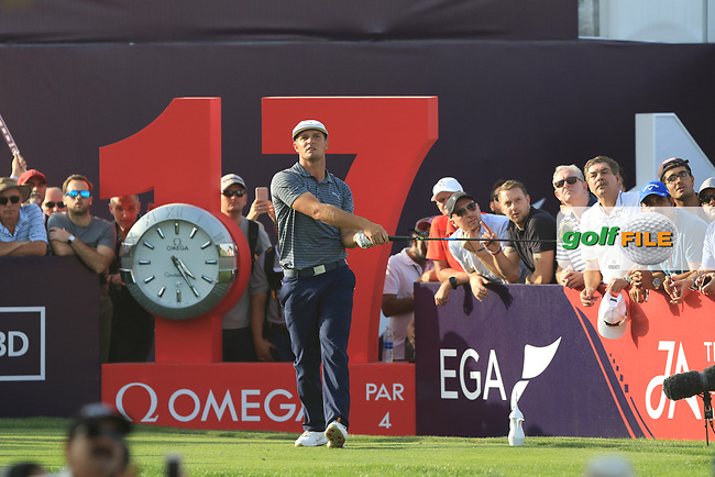 Bryson Dechambeau (USA) on the 17th tee during Round 4 of the Omega Dubai Desert Classic, Emirates Golf Club, Dubai,  United Arab Emirates. 27/01/2019<br /> Picture: Golffile | Thos Caffrey<br /> <br /> <br /> All photo usage must carry mandatory copyright credit (&copy; Golffile | Thos Caffrey)