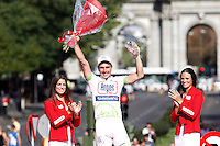 John Degenkolb celebrates the victory in the stage of La Vuelta 2012 beetwen Cercedilla and Madrid.September 9,2012. (ALTERPHOTOS/Acero)