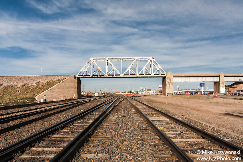 Railroad Bridge above train tracks in Cheyenne, WY