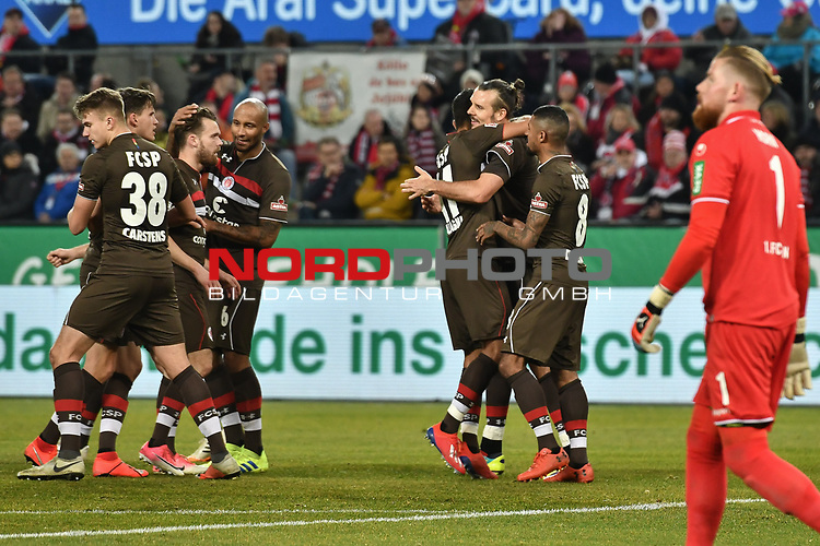 08.02.2019, Rheinenergiestadion, Köln, GER, DFL, 2. BL, VfL 1. FC Koeln vs FC St. Pauli, DFL regulations prohibit any use of photographs as image sequences and/or quasi-video<br /> <br /> im Bild Alexander Meier (#9 St. Pauli) jubelt nach seinem Tor zum 1:1 mit seiner Mannschaft<br /> <br /> Foto © nph/Mauelshagen