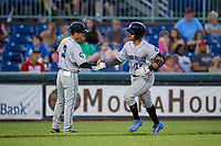 Hudson Valley Renegades manager Blake Butera (3) congratulates Luis Trevino (17) after hitting a home run during a NY-Penn League game against the Mahoning Valley Scrappers on July 15, 2019 at Eastwood Field in Niles, Ohio.  Mahoning Valley defeated Hudson Valley 6-5.  (Mike Janes/Four Seam Images)