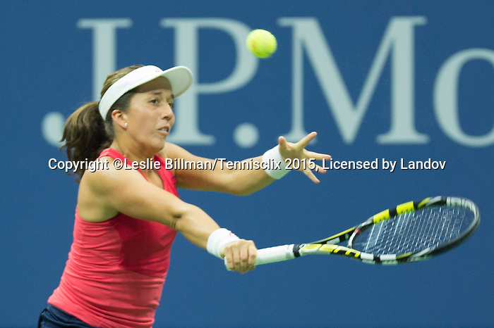 Irina Falconi (US) keeps up with Venus Williams (USA) in the first set,  4-3 at the US Open in Flushing, NY on September 2, 2015.