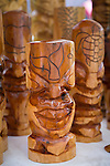 Hand Carved Tikis made as souvenirs for tourists in Lahaina, Maui, Hawaii