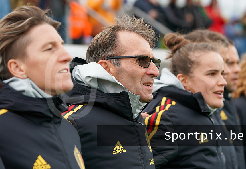 20191101 - Tubize: Belgian assistant coach Luc Bosmans (M) pictured during the international friendly match between Red Flames U16 (Belgium) and Norway U16 on 1 November 2019 at Belgian Football Centre, Tubize. PHOTO:  SPORTPIX.BE | SEVIL OKTEM