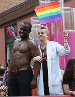 www.acepixs.com<br /> <br /> June 25 2017, New York City<br /> <br /> Kelly Osbourne (R) and Gbenga Akinnagbe taking part in the New York City Gay Pride 2017 Parade on June 25, 2017 in New York City.<br /> <br /> By Line: Nancy Rivera/ACE Pictures<br /> <br /> <br /> ACE Pictures Inc<br /> Tel: 6467670430<br /> Email: info@acepixs.com<br /> www.acepixs.com
