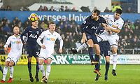 Fernando Llorente of Spurs scores a headed goal to make it 1-0 during the Premier League match between Swansea City and Tottenham Hotspur at the Liberty Stadium, Swansea, Wales on 2 January 2018. Photo by Mark Hawkins / PRiME Media Images.