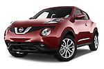 Stock pictures of low aggressive front three quarter view of 2017 Nissan JUKE SV 5 Door SUV Low Aggressive