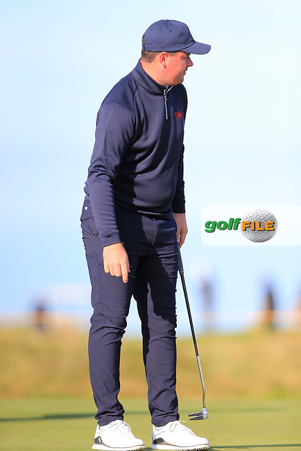 Thomas Sloman (GB&I) on the 3rd green during the final day foursomes matches at the Walker Cup, Royal Liverpool Golf Club, Hoylake, Cheshire, England. 08/09/2019.<br /> Picture Fran Caffrey / Golffile.ie<br /> <br /> All photo usage must carry mandatory copyright credit (© Golffile | Fran Caffrey)