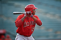 William Holmes (58), of the AZL Angels, at bat during an Arizona League game against the AZL Padres 1 on August 5, 2019 at Tempe Diablo Stadium in Tempe, Arizona. AZL Padres 1 defeated the AZL Angels 5-0. (Zachary Lucy/Four Seam Images)