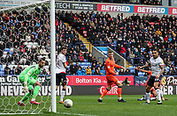 Bolton Wanderers' Pawel Olkowski scoring his side's first goal <br /> <br /> Photographer Andrew Kearns/CameraSport<br /> <br /> The EFL Sky Bet Championship - Bolton Wanderers v Millwall - Saturday 9th March 2019 - University of Bolton Stadium - Bolton <br /> <br /> World Copyright © 2019 CameraSport. All rights reserved. 43 Linden Ave. Countesthorpe. Leicester. England. LE8 5PG - Tel: +44 (0) 116 277 4147 - admin@camerasport.com - www.camerasport.com