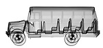 X-ray image of a school bus (black on white) by Jim Wehtje, specialist in x-ray art and design images.