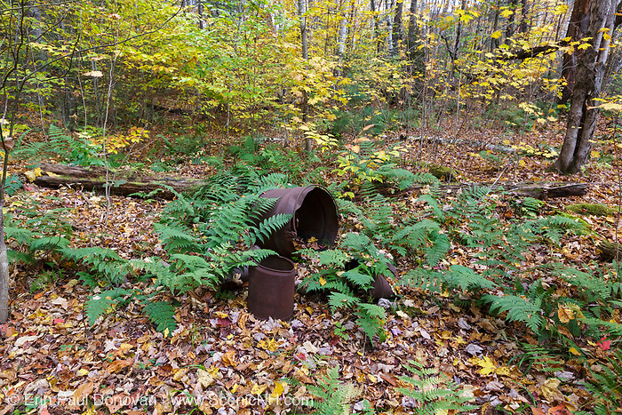 Artifacts at Camp 8 of the East Branch & Lincoln Railroad (1893 -1948) along today's Lincoln Woods Trail in Lincoln, New Hampshire during the autumn months. The removal of historic artifacts from federal lands without a permit is a violation of federal law.