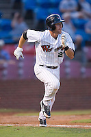 Greg Paiml (27) of the Winston-Salem Warthogs hustles down the first base line at Ernie Shore Field in Winston-Salem, NC, Thursday July 27, 2008. (Photo by Brian Westerholt / Four Seam Images)