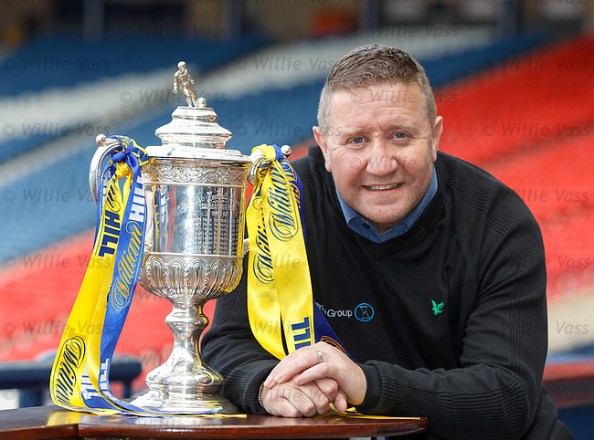 John Robertson with the Scottish Cup as he previews the Celtic v Hearts cup semi on Sunday