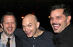 Rob Ashford, Michael Cerveris & Ricky Martin.attending the Broadway Opening Night Actors' Equity Gypsy Robe Ceremony for recipient Matt Wall in 'EVITA' at the Marquis Theatre in New York City on 4/5/2012 © Walter McBride/WM Photography
