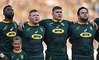 PRETORIA, SOUTH AFRICA - OCTOBER 06: South African players sing the national anthem during the Rugby Championship match between South Africa Springboks and New Zealand All Blacks at Loftus Versfeld Stadium. on October 6, 2018 in Pretoria, South Africa. Photo: Steve Haag / stevehaagsports.com