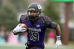 SIOUX FALLS, SD - OCTOBER 18: Solomon St. Pierre #19 from the University of Sioux Falls returns the interception for a touchdown against Southwest Minnesota State in the first half of their game Saturday afternoon at Bob Young Field in Sioux Falls. (Photo by Dave Eggen/Inertia)