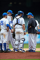 Kentucky Wildcats assistant coach Jim Belanger has a meeting on the mound in the game against the Sam Houston State Bearkats during game four of the 2018 Shriners Hospitals for Children College Classic at Minute Maid Park on March 3, 2018 in Houston, Texas. The Wildcats defeated the Bearkats 7-2.  (Brian Westerholt/Four Seam Images)