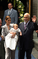 Montreal (QC) CANADA -July 25 2001 file photo -<br />  Charles-Rene ; Celine Dion and Rene Angelil baby get baptised at Notre-Dame Basilica in Old-Montreal