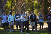 9th February 2018, Lake Karrinyup Country Club, Karrinyup, Australia; ISPS HANDA World Super 6 Perth golf, second round; Danny Willett (ENG) plays an approach shot as the crowd watch