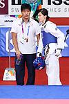 (L-R) <br /> €  Tsuyoshi Koga, <br /> Miyu Yamada (JPN), <br /> AUGUST 23, 2018 - Taekwondo : <br /> Women's -49kg <br /> at Jakarta Convention Center Plenary Hall <br /> during the 2018 Jakarta Palembang Asian Games <br /> in Jakarta, Indonesia. <br /> (Photo by Naoki Nishimura/AFLO SPORT)