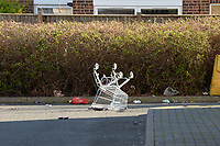 An abandoned shopping trolley outside the Tesco store in Waltham Abbey during the COVID-19 pandemic on 22nd March 2020