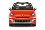 Car photography straight front view of a 2016 Fiat 500-C Lounge 2 Door Convertible Front View