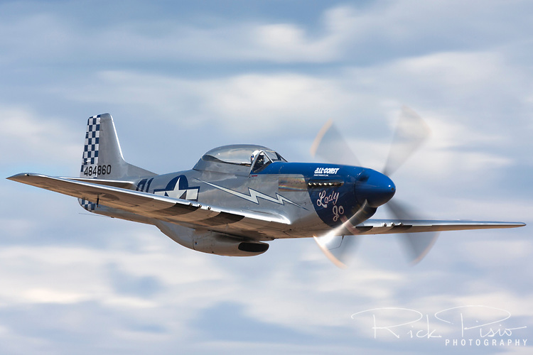 "TF-51D Mustang ""Lady Jo"" in flight during the 2010 Reno National Championship Air Races."