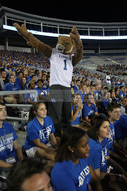 The Wildcat mascot helps pump up students during Big Blue U at Commonwealth Stadium in Lexington , Ky., on Friday, August 23, 2013. Photo by Eleanor Hasken | Staff