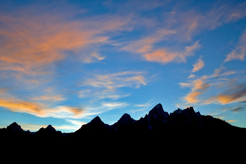 Sunset over Teton Mountains. Grand Teton National Park, WY