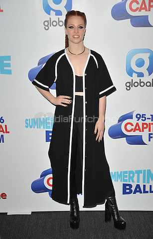 Jess Glynne at the Capital FM Summertime Ball in aid of the Help a London Child charity, Wembley Stadium, Wembley, London, England, UK, on Saturday 11 June 2016.<br /> CAP/CAN<br /> &copy;CAN/Capital Pictures /MediaPunch ***NORTH AND SOUTH AMERICA ONLY***