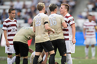 Houston, TX -  Sunday, December 11, 2016: Corey Baird (10) of the Stanford Cardinal has words with Ian Harkes (16) of the Wake Forest Demon Deacons  at the  NCAA Men's Soccer Finals at BBVA Compass Stadium.