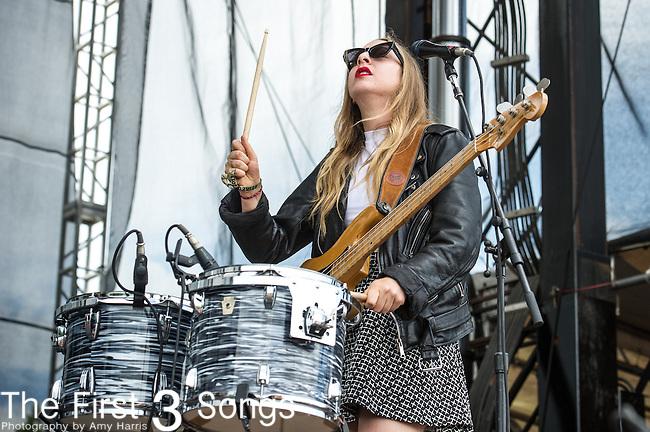 Este Haim of HAIM performs during Day 3 of the 2013 Firefly Music Festival in Dover, Delaware.